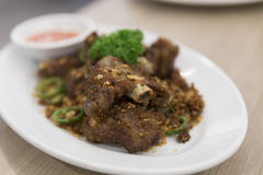 Fried spare-ribs, garlic and chili Royalty Free Stock Images