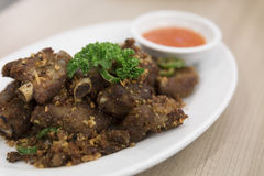 Fried spare-ribs, garlic and chili Royalty Free Stock Image