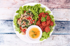 Free Fried Spicy Basil With Minced Pork And Curried Fish Cake. Stock Photography - 89640702