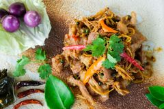 Fried spicy boar food stock image