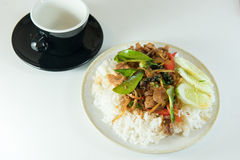 Fried spicy  boar pattern thailand food style with black cup , i. Solated Royalty Free Stock Photo