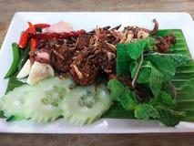 Fried Spicy finhackade grisköttsalladbollar Royaltyfri Fotografi
