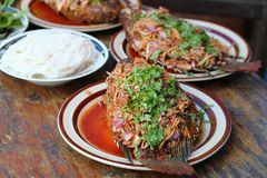 Fried spicy fish with variety Thai food on wooden table. Fried spicy fish with variety Thai food stock photography