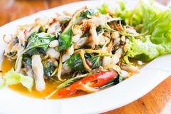 Fried Spicy Herbal Vegetables With Razor Clams. Thai Food Local in SamutSongKhram Province Thailand stock image