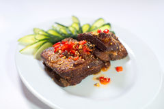 Fried spicy pork ribs Stock Image