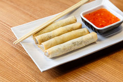 Fried spring rolls with chicken and vegetables Royalty Free Stock Images
