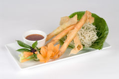 Fried spring rolls with dipping sauce Stock Photos