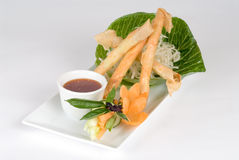 Fried spring rolls with dipping sauce Stock Photography
