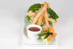 Fried spring rolls with dipping sauce Stock Photo