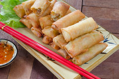 Fried Spring rolls food on wood background Stock Image