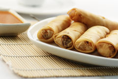 Fried spring rolls or popiah with sauce Royalty Free Stock Photos