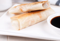 Fried spring rolls with sauce Stock Photos