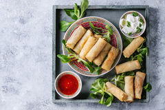 Fried spring rolls with sauce Stock Photo