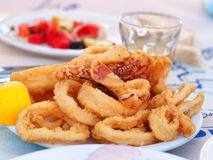Fried squid (calamari). Portion of fried squid (or calamari). Greek style. Salad and wine on background royalty free stock photos