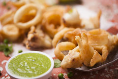 Fried squid Royalty Free Stock Images