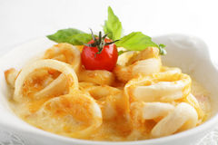 Fried squid with cheese sauce Royalty Free Stock Image