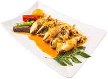 Fried Squid With Curry Gravy VII Royalty Free Stock Images