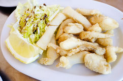 Fried squid or cuttlefish.(Chocos) Royalty Free Stock Photo