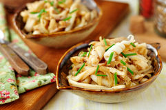 Fried Squid with Onions and Chives Royalty Free Stock Photo
