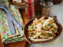 Fried Squid with Onions and Chives, vintage effect Stock Photography