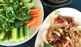 Fried squid with onions and vegetables for lunch Royalty Free Stock Photography