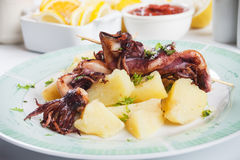Fried squid with potato Royalty Free Stock Photography