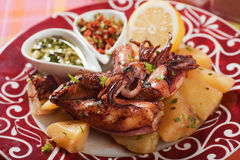 Fried squid with potato Stock Images