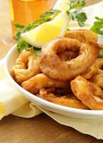 Fried squid rings dipped in batter Royalty Free Stock Image