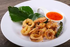 Fried squid rings. With hot spicy sauce royalty free stock images