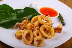 Fried squid rings. With hot spicy sauce stock photography