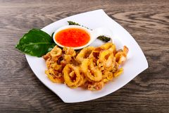 Fried squid rings. With hot spicy sauce royalty free stock photo