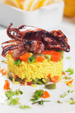 Fried squid and risotto Stock Image