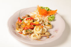 Fried squid with salted egg Stock Photos