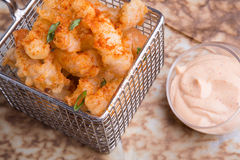Fried squid with sauce Royalty Free Stock Photography