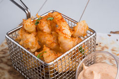 Fried squid with sauce Royalty Free Stock Photos