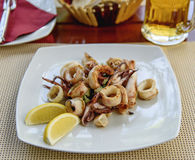 Fried squid stuffed with vegetables. Sea food Royalty Free Stock Images