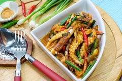 Fried Squid wiht Salted Egg Stock Photography