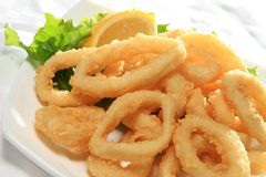 Fried Squid With Green Salad And Lemon Stock Image