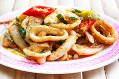 Fried squid in yellow curry powder. Stock Photography