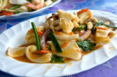 Fried squid in yellow curry Powder Stock Photo