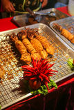 Fried squids. And red chilli are the local food Thia people Stock Images