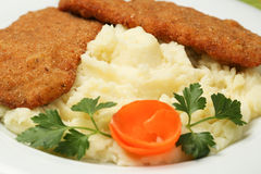 Fried steak with mashed potatoes on plate Stock Photography