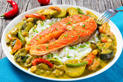 Fried steak of red fish with rice and homemade curry Royalty Free Stock Images