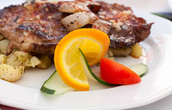 Fried Steak With Potatos Royalty Free Stock Photo