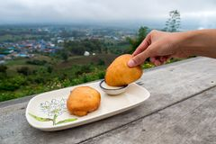 Fried steamed bun was dip in the sweetened condensed milk in a bowl with mountain village background. Traveling in Thailand Royalty Free Stock Photos