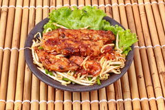 Fried steamed grated radish with shallot and bean sprouts. Chinese food ,Fried steamed grated radish with dried shrimp , shallot and bean sprouts call Khanom Stock Photos