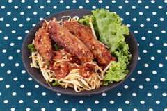 Fried steamed grated radish with shallot and bean sprouts. Chinese food ,Fried steamed grated radish with dried shrimp , shallot and bean sprouts call Khanom Royalty Free Stock Images