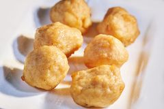 Fried steamed shrimp balls on white plate, Close-up with shallow depth of field stock photos