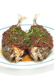 Fried stiff tail fish with chili paste. Fried stiff tail fish with chili paste isolated Stock Photo