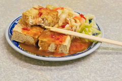Fried stinky tofu in Taiwan. Taiwan Distinctive Traditional Snack of stinky tofu royalty free stock images